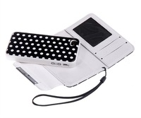 10pcs/lot Detachable Polka Dots Wallet Leather Case For iPhone 5 5G 5S 2 in 1 + Free Shipping