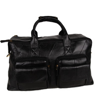 Travel bag genuine leather handbag messenger bag first layer of cowhide zipper fashion