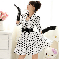 Fashion Polka Dots Long Trench Coat Lapel Puff Half Sleeve Skirted Women Long Outwear Autumn Casual Women Uppers HY08126