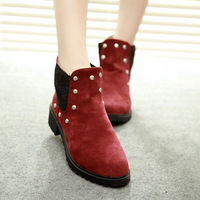 Fashion autumn boots scrub velvet elastic strap boots pointed toe boots rivet shoes