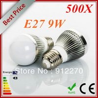 500pcs/lot Bubble Ball Bulb E27 85V-265V 9W (3x3w) Energy Saving Warm /Pure /Cool White LED Light Bulb Lamp Lighting