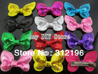 Free Shipping!54pcs  HOT NEW wholesale Sequin Bow Appliques hair clips,Girls' hair accessories Sequin Hair Bows hairpins