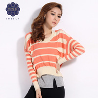 2013 Autumn New Neck Stripe Long Sleeve Knitwear Bat sleeve Loose Fashion Wild woollen sweater