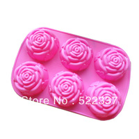 Free Shipping-Guaranteed 100% Perfect Quality 6 Holes Silicone Cake Rose Mould  Cake Tools Pudding Molds Wholesale & Retail