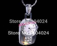 4GB 8GB 16GB 32GB necklace silver watch clock USB 2.0 flash memory Pen drive