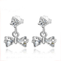 Designer Earrings,925 Sterling Silver with Austrial Crystal,Bow Jewelry Design,Free Shipping OE39