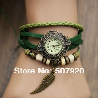Quartz Fashion Weave WRAP Around Leather Bracelet Lady Woman Wrist Watch 8 Color