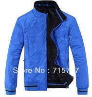 Free shipping 2014 Autumn Winter mens fashion sports for Men's double-sided wear jacket collar coats 2 colors black , blue