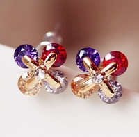 A1404 stud earring earrings lucky four leaf clover multicolour crystal zircon small fresh gold plated alloy silver plated