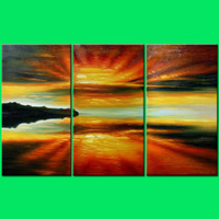 Hand Painted Abstract Oil Painting Landscape Sunrise Seascape 3 Piece Wall Art Home Decoration Wall Art Free Shipping Home