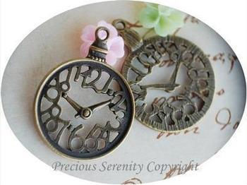 Snaps Jewelry Gorjuss Wedding Decoration Diy Vintage Bronze Hollow-carved Clock Jewelry Making Pendant Round Handbag Findings
