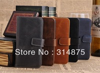 20pcs/lot DHL Free Vintage Series Crazy Horse Leather Wallet Case For Iphone 5C