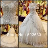 [High-Quality]Free Shipping Luxury Crystal Wedding Dress 2014 Plus Size Style 2703