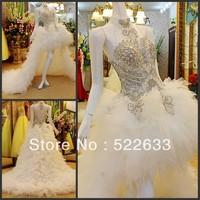 [High-Quality]Free Shipping Luxury Crystal Wedding Dress 2014 Plus Size Style 2706