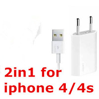 High quality White 2 in 1 new 1pcs EU Plug USB wall Charger+1pcs sync data Charging Cable for iPhone 4 4s 3G 3GS hh0019