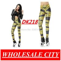 Wholesale Women Leggings Yellow Pirate Costume Police Cordon Printed Leggings Galaxy Elastic Pencil Pants DK218