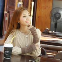 S semi-finger winter gloves women's lucy refers to gloves yarn wristiest oversleeps arm sleeve shriveled