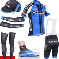 Free shipping cycling equipments 2014 Blue Giant Cycling jersey  BIBS SHORTS  Warmers  cap and shoes covers, custom design shirt