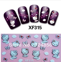 Free shipping 10packs/lot 24 Designs 3D Tip Nail Art Sticker Decal Manicure Mix Color HK-Kitty nail foils