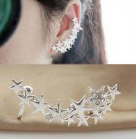 2015 new Fashion crystal start ear cuffs earrings charms Korean earring for women earclip  2pcs/lot (left+right earring) LM-C168