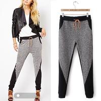 Hot Sale Fashion Fall New American Apparel Women's Patchwork Thin Elastic Waist Feet Casual Harem Pants