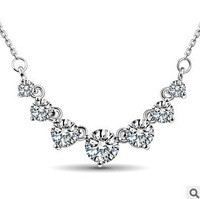 Free shipping 2014 new arrival super shiny cubic zirconia crystal ladies`925 sterling silver short chain necklaces jewelry