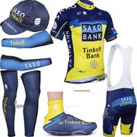 Free shipping 2015 Saxo Bank Cycling jersey  bibs shorts  Arm & Leg Warmers cap and shoe covers,custom design cycle jerseys ok