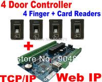 Fingerprint 4 Door Solution 4 pcs Fingerprint+RFID Card Reader and 4 Door Access Controller Board Web IP+TCP/IP Door Lock system
