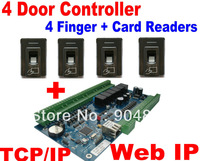 Fingerprint 4 Door Solution 4 pcs Fingerprint+RFID Card Reader and 4 Door Access Controller Board Web IP+TCP/IP Door Lock system