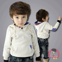 2013 autumn children's clothing child baby male child fleece thickening denim patchwork sweatshirt children outerwear