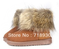 2013 qiu dong fashion imitation fox fur boots women's boots snow cotton shoes warm size(US):6.5 - 8.5 fast shipping