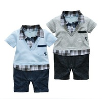 Russian special line free shipping  Wholesale kids clothing  Kids summer plaid collar color selection Romper romper  3pcs/lot