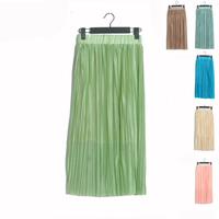 Fashion vintage - gloss silk expansion skirt pleated skirt