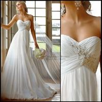Elegant Beach Sweetheart Sleeveless Beading Pleat Chiffon Wedding Dresses