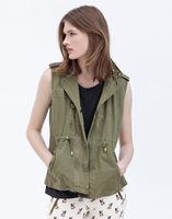 2013 spring handsome tooling sleeveless epaulette rivet zipper decoration drawstring vest outerwear