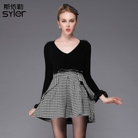 On sale 2013 fashion autumn and winter sexy V-neck sheep wool knitted houndstooth gentlewomen laciness one-piece dress