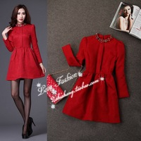 On sale 2013 quality jacquard Wine beading red formal dress elegant one-piece dress