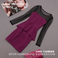 On sale 2013 autumn and winter women sexy perspectivity polka dot lace crochet faux two piece ol one-piece dress short new