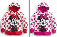 Retail 2013 Girls Hoodies Shiny Hot Drilling Long Sleeve Hoodies Minnie Cartoon Top Kids T-Shirts Fit 2-6 Yrs Free Shipping