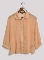 Fashion summer small fresh lace pleated chest nude color three quarter sleeve chiffon shirt hd