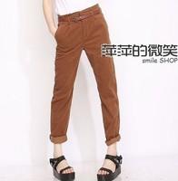 - 2013 female fashion vintage corduroy high waist casual trousers harem pants
