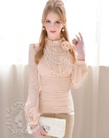 2013 new fashion women ruffles stand collar long sleeves chiffon shirt blouse slim elegant ladies pleated shirts with flower