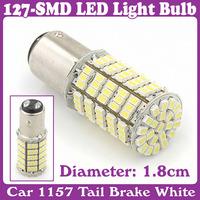 2 pcs/Lot_Car 1157 Tail Brake White 127-SMD LED Light Bulb Lamp_turn signal, corner, parking, side marker, tail , back up lights