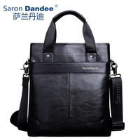 100% first layer leather Male leather-bag  business casual cowhide messenger bag black color factory price