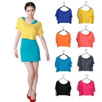 Fashion 2013 solid color pocket loose batwing shirt Women short-sleeve t-shirt