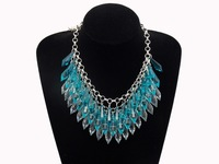 Hot Selling Fashion Lots layered Gem Beads Tassel Bib Choker Vintage Necklace necklace Jewelry for women blue