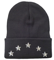 Free shipping ! Fashionf acrylic five stars embellishment beanie black for  Men and Women Winter Knitted Caps,wholesale /1 pcs.