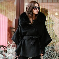 2013 New Fashion High Quality Slim Woolen Outerwear For Women Korean Style Solid Color Coat With Belt Women's Cape