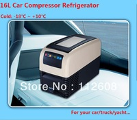 Free shipping 16L Compressor Refrigerator  Mini Fridge Car refrigerator Truck Fridge Yacht Fridge Car freezer
