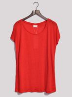 Fashion natural linen super brief loose t-shirt women's batwing shirt plus size
